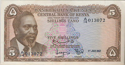 1967 KENYA 5 SHILLINGS NOTE **ABOUT UNCIRCULATED - PICK #1b** FREE SHIPPING!