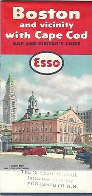 1958 ESSO STANDARD OIL CO Road Map BOSTON CAPE COD Massachusetts Fanueil Hall