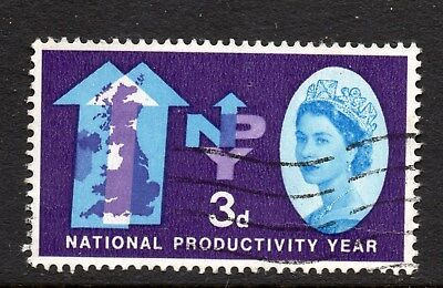 1962 National Productivity Year 3d Used With 'Lake In Yorkshire' Flaw SG632d