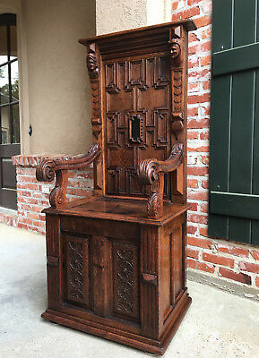TALL Antique English Carved Oak Hall Bench Throne Renaissance Chair Jacobean