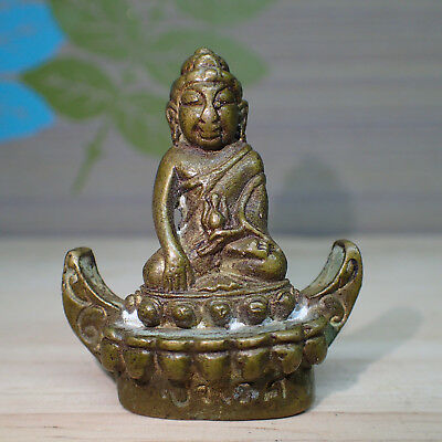 Phra Kring Buddha Statue Art in Boat Old Thai Holy Amulet Brass Rare Antiques
