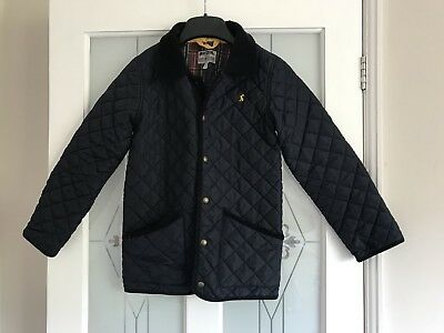 Boys Joules Navy Quilted Jacket / Coat With Tartan Lining Age 9-10 Years VGC