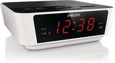 Philips Bedside Dual Alarm Clock Radio AJ3115 FM or Buzzer Presets Snooze LED