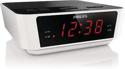 Philips Bedside Dual Alarm Clock Radio With FM or Buzzer Presets Snooze Big LED