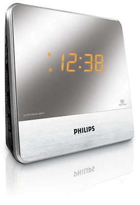 Philips Mirror Finished Display Alarm Clock Radio FM Tuner & Dual Alarm + Aux