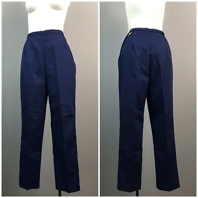 Vintage NOS Deadstock 1960s Navy Blue High Waist Ankle Pants Tapered Cotton M