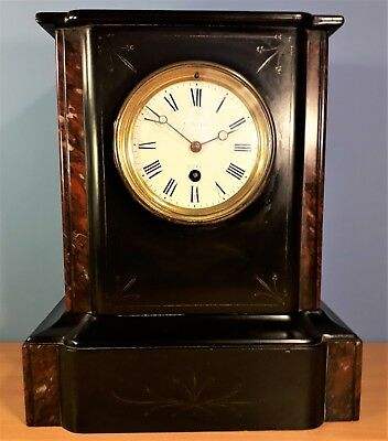Victorian French Slate and Marble Mantle Clock