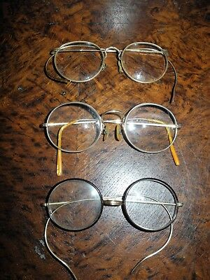 3 Pair Of Antique Glasses 2 Are 12K Gold Filled With Lenses