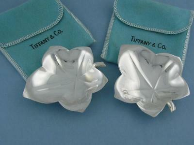 pr Sterling TIFFANY & CO Leaf shaped Bon Bon Candy Nut Dishes w/ felt holders