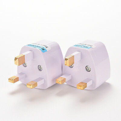 Universal US AU EU to UK AC Power Plug White Travel Wall Adapter Plug Converter~