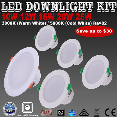 6X IP44 Recessed LED Downlights Kit Dimmable 10W 12W 16W 20W 25W Warm/Cool White