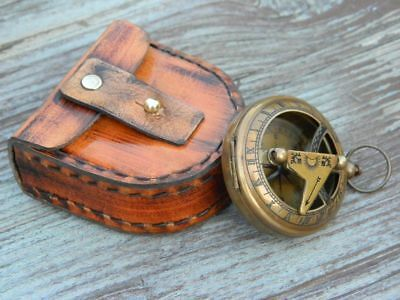 Brass Nautical Collectibles Sundial Compass With Handmade Leather Case