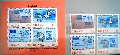 GHANA 1974 548-51 Block 55 512-515A UPU Postal Union Envelopes Post Briefe MNH