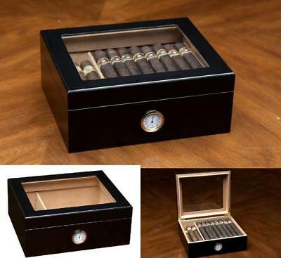 Cigar Humidor Black Box Finish Glass Top Hygrometer & Humidifier Capacity 20-50