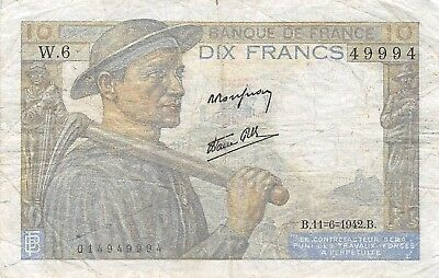 France  10  Francs  11.6.1942   Series  W.6  Circulated Banknote E418M