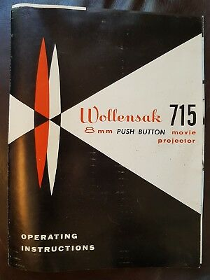 Wollensak 8Mm Push Button 715 Movie Projector Operating Instructions Vintage