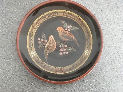 Hand Thrown Hand Decorated Christmas Plate 1981 Yeo Pottery Clevedon Used