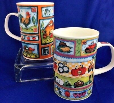 Dunoon 2 Mugs Fine Bone China Made in England - Home Grown Pattern