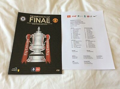 F.A. Cup Final programme 2018 Chelsea v Manchester United + Teamsheet mint condi