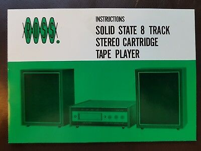 Vintage Ross Solid State 8 Track Stereo Cartridge Tape Player Instructions