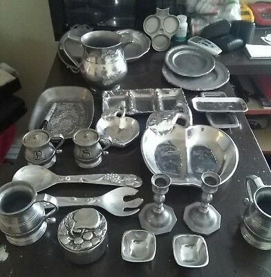 Assorted Lot of 7 Antique / Vintage Pewter Pieces