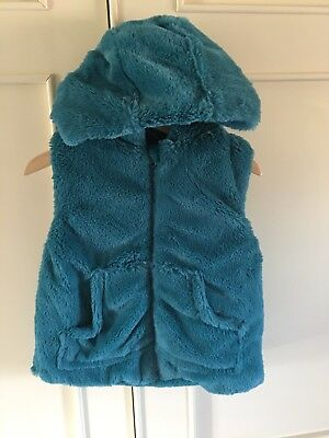 NEW Girls Faux Furry Blue Gillet 3-4 yrs