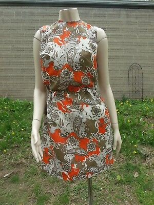 1960's Mid-Length Dress, SZ Small, Light Fabric, Orange and Brown, Collared