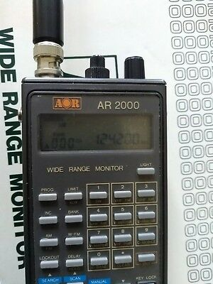 AOR AR 2000 Handheld Radio Scanner With Accessories and Manuals