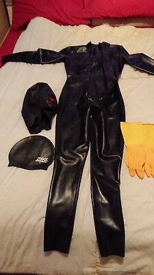 latex catsuit used small and accessories