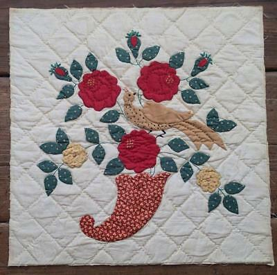 Antique 1920's Applique Colonial Revival Cornucopia Bird Floral Quilt Block 16x1