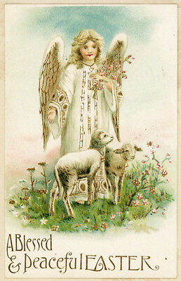 Germany Gold Outline Beautiful Angel Lambs Blossoms Vtg Antique Easter Postcard