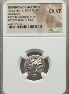 Kingdom of Macedon Alexander III Drachm NGC Choixe VF ancient silver coin