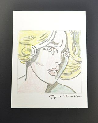 """Roy Lichtenstein, 1975 Print """"Girl"""", from a VIP Book.  Hand signed, with COA."""