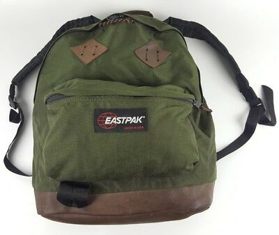 Vintage EASTPAK Backpack Leather Bottom Marty McFly Back to the Future USA  MADE