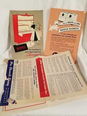 1950 Vintage ORIGINAL LAUNDROMAT RECIPE BOOK FOR YOUR NEW WASHER AWESOME VINTAGE