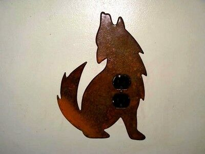 Large Rustic Metal Howling Wolf with 1/2 Moon~ Duplex Outlet Wall Plate Cover
