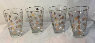 4 Autumn Leaf Jewel Tea Libbey Glasses Tumblers 10 Oz. 1958-61 Free Shipping