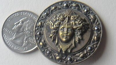antique button medusa 2 3/8 inches brass metal old head woman
