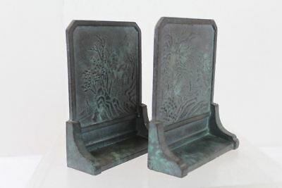 Vintage Japanese Asian Cast Iron Metal Bookends with Tea Gardens of Japan Scene