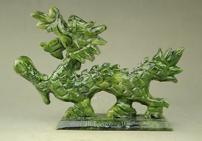 Green natural jade Chinese hand-carved Dragon statue good luck c01