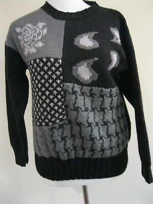 Vintage Abstract Black Grey White Knit Jumper Au 10