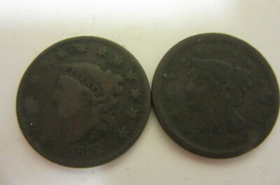 Lot TWO 1832 & 1851 One Cent Coins Coin Penny Pennies U.S. NR Estate Lot#108