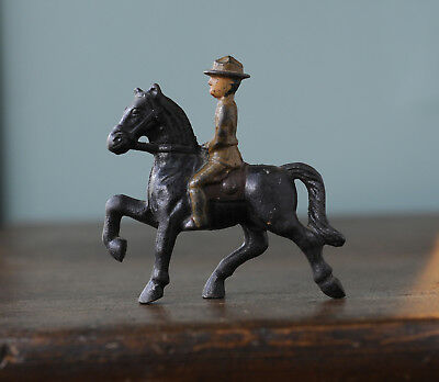 Vintage Cast Iron Horse with Military Soldier Rider...Nice