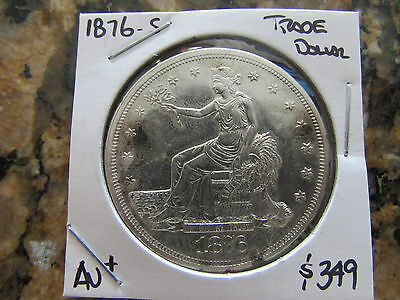 1876 S Trade Dollar Seated Liberty San Francisco Mint $1 Silver US Coin