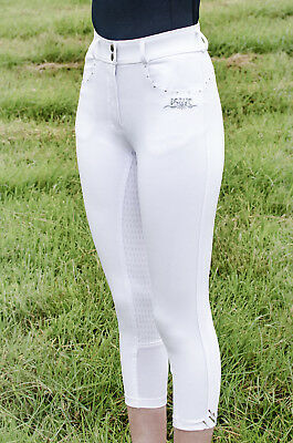 White full silicone seat breeches, high rise, crystal detail - size 10