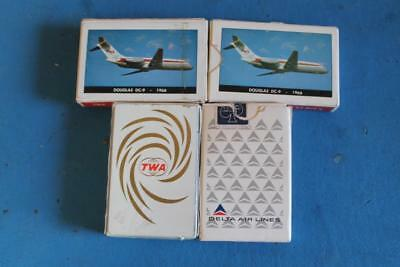 Vintage Playing Cards Lot of 4 Decks Airlines TWA DELTA 1966 DOUGLAS DC-9