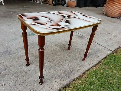 Small Retro Vintage Table With Faux Marble Top And Turned Wooden Legs