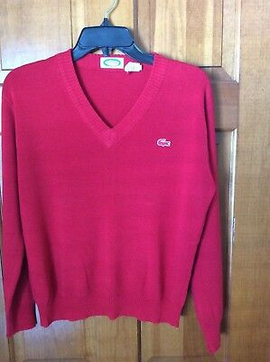 Izod Lacoste Boys Size 20 Sweater Pullover V-Neck Red w Alligator Patch Vtg EUC