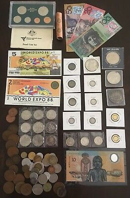 Coins & Notes Bulk Collection. Pre Decimal Silver, Pennies, Commemeratives