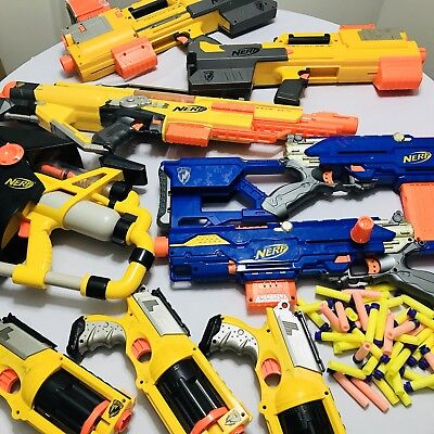 Nerf Guns Bundle Lot Of 9 With Ammo And Clips 6 Large 3 Small